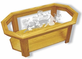 Glass-Top Coffee Table - Solid Oak with Etched Kittens Playing