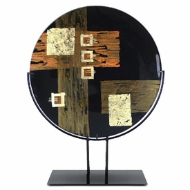 Gold and Black Assorted Abstract Designs Fused Glass Platter Charger