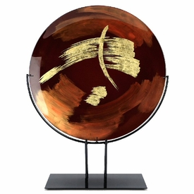 Gold and Brown Paint Stroke Design Round Fused Glass Platter Charger