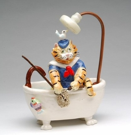 Gone Fishin Tom Cat Sculpture