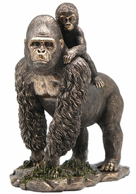 Gorilla Walking with Baby Gorilla Sculpture