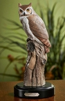 Great Horned Owl Bird Hand Painted Sculpture