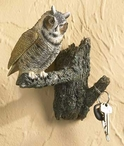 Great Horned Owl Birds Hand Painted Single Wall Hooks, Set of 2