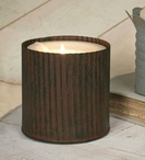 """Green Rust 3"""" Corrugated Candle Can Pillar Candle Holder, Set of 4"""
