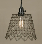 Green & Rust French Wire Pendant Lamp Light