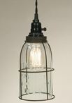 Green & Rust Half Gallon Caged Open Bottom Mason Jar Pendant Light