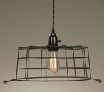Green Rust Wire Basket Hanging Pendant Lamp Light
