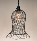 Green Rust Wire Bell Pendant Lamp Light