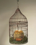 Green Rust Wire Bird Cage Hanging Pillar Candle Holder