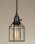 Green & Rust Wire Cage Pendant Lamp Light