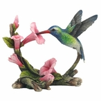 Green Violet Ear Hummingbird with Flowers Bird Sculpture