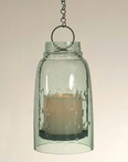Half Gallon Mason Jar Hanging Pillar Candle Holders, Set of 2