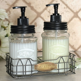 Hoosier Glass Soap & Lotion Dispensers with Wire Caddy