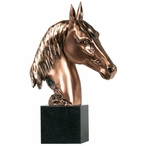 Large Horse Bust Statue - Copper Finish