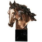 Horse Bust with Flowing Mane Statue - Copper Finish