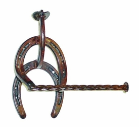 "Horseshoe Cowboy Metal Toilet Paper Holder with 1/2"" Rope"