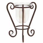Hurricane Pillar Candle Holder with Metal Scrolled Base, Set of 2