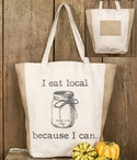 I Eat Local Because I Can Canvas and Burlap Grocery Market Tote Bag