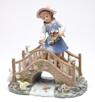 Idle Time Girl on a Bridge Porcelain Sculpture