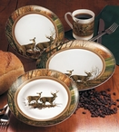 Indian Summer Whitetail Deer Ceramic Dinnerware Set 16 Piece