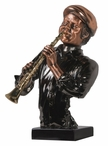 Jazz Man with Clarinet Statue - Dark Copper Finish