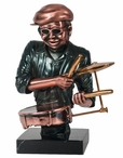 Jazz Man with Drums Statue - Dark Copper Finish