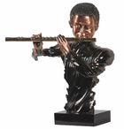 Jazz Man with Flute Statue - Dark Copper Finish