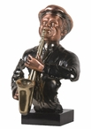 Jazz Saxophonist with Music Notes Statue - Dark Copper Finish