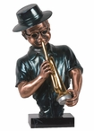 Jazz Trumpet Player Statue - Dark Copper Finish