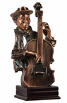 Large African American Bass Player Statue - Antique Copper Finish
