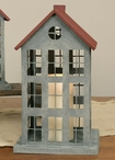 Large Barn Roof New England House Pillar Candle Holder with Red Roof