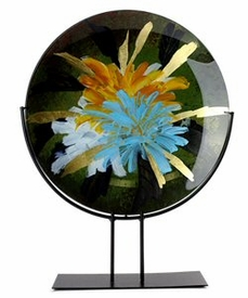 Large Burst of Colors Round Fused Glass Platter Charger