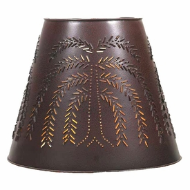 large crackle black and red willow tree punched tin lamp shade lamp. Black Bedroom Furniture Sets. Home Design Ideas