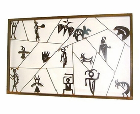 Large Framed Petroglyph Metal Wall Art