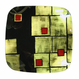 Large Fused Glass Double Design Square Plate with Ball Legs