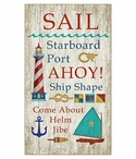 Large Multiple Sayings Sail Vintage Style Wooden Sign