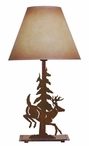 Leaping Deer and Pine Tree Metal Table Lamp with Shade