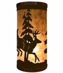 Leaping Deer Metal Cylinder Pillar Table Lamp