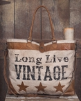 Long Live Vintage Stonewashed Canvas and Soft Leather Tote Bag