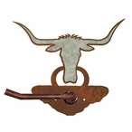 Burnished Longhorn Steer Metal Toilet Paper Holder