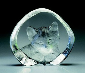 Love Me Cat Etched Crystal Sculpture by Mats Jonasson