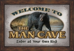 Man Cave Black Bear Framed Wall Mirror