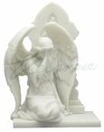 Marble White Weeping Angel Kneeling and Covering Her Face Sculpture