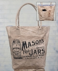 Masons Jars Stonewashed Canvas Grocery Market Tote Bag