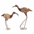 Metal & Driftwood Flamingo Bird Sculptures, Set of 2
