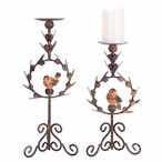 Metal Pillar Candle Holders with Bird Design, Set of 2