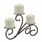 Metal Scroll Triple Pillar Candle Holder