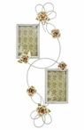 Metal Wall Hanging Double Picture Frame with Flowers
