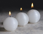 White Glitter Ball Candles, Set of 12