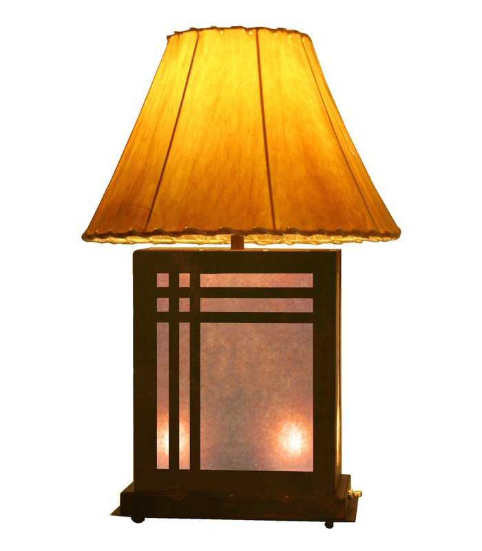 mission scenic metal table lamp with night light rustic. Black Bedroom Furniture Sets. Home Design Ideas